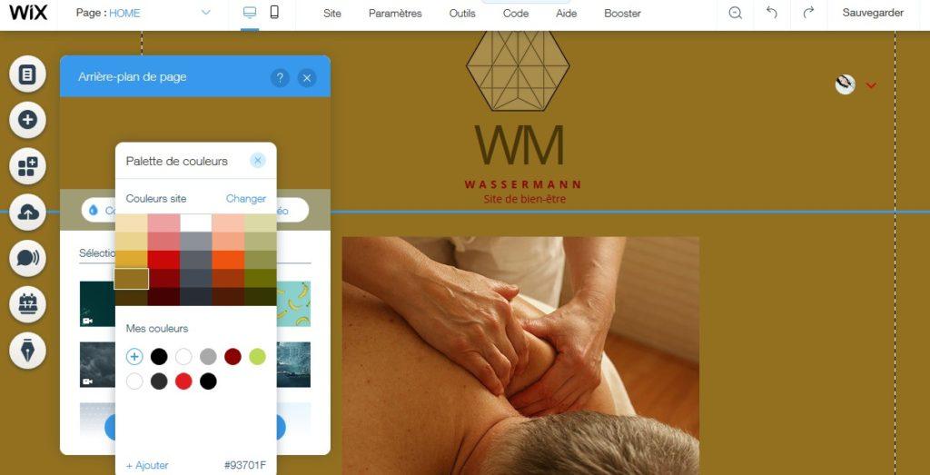 Personnaliser le fond d'un site de bien-être avec Wix