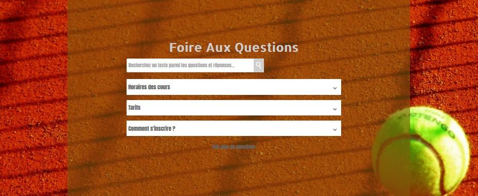 Foire aux questions (FAQ) réalisée avec SiteW pour créer un site de club de tennis