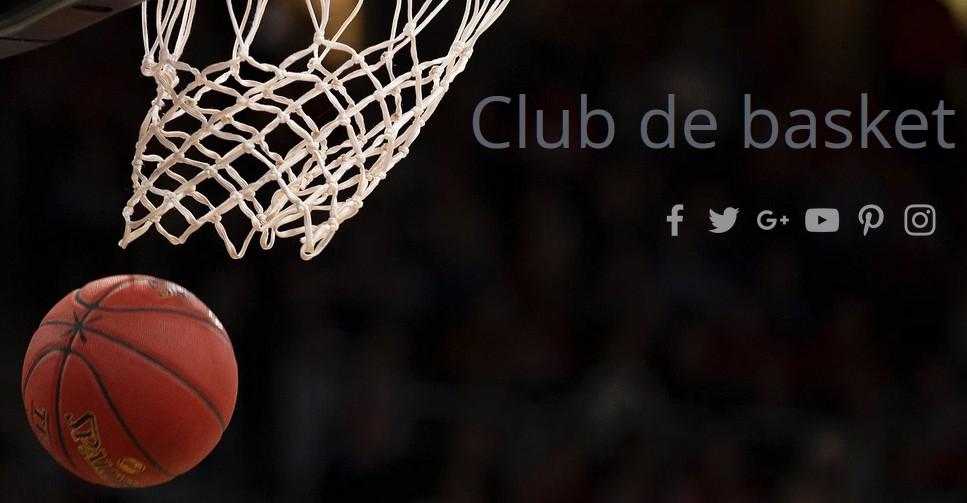 Boutons de partage social sur un site de club de basket avec Wix