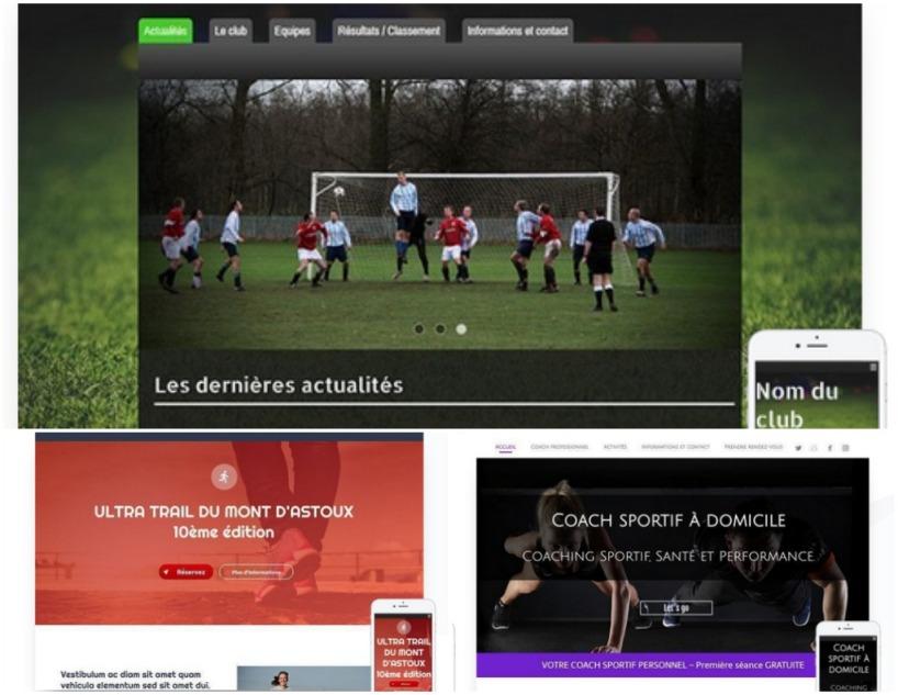 Templates SiteW pour créer un site de club de sport