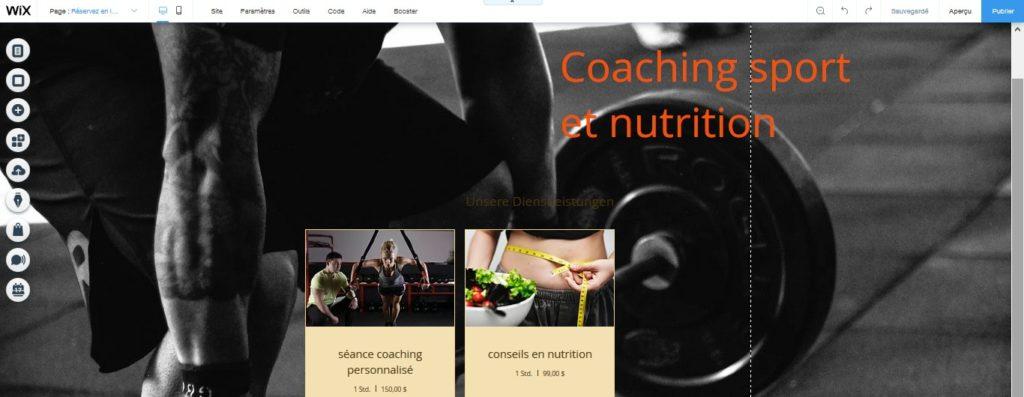 Insérer un calendrier de séances coaching et nutrition avec Wix