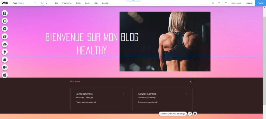 Mettre en ligne un forum healthy santé et bien-être avec le créateur de sites Wix