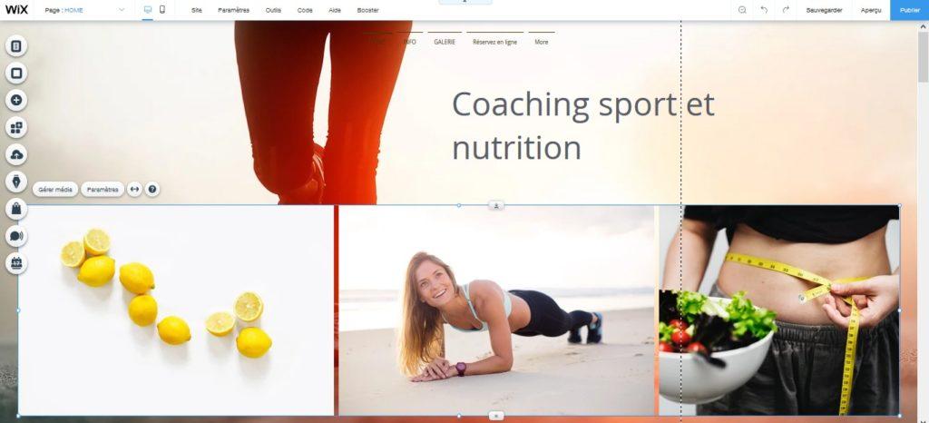 Créer une galerie fitness et coaching sport avec l'éditeur de site Wix